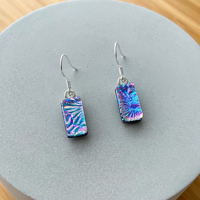 Multicoloured Florentine Dichroic Glass Dangle Earrings Fused Glass Jewellery 925 Sterling Silver Hook