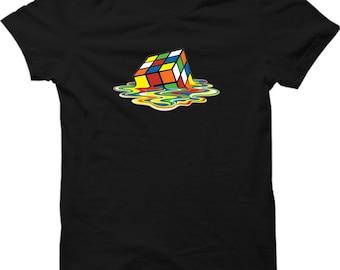 041af0a7 Melted Rubix Cube Popular Tv Show T Shirt Sheldon Cooper Funny Mens Gift  Shirt Smart T-shirt