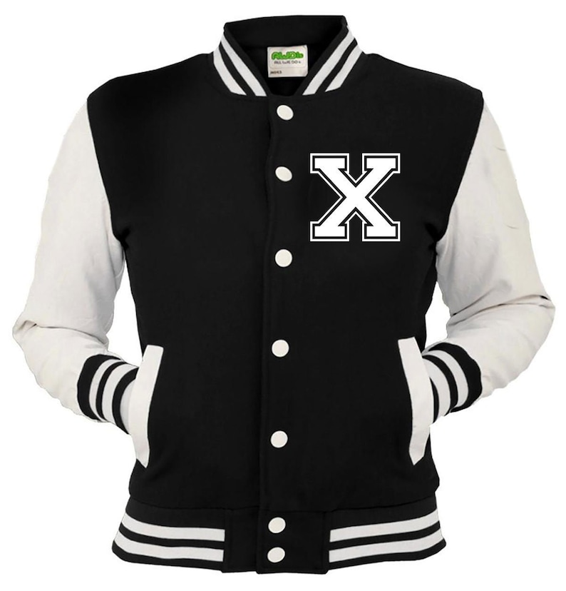 Kids /& Adults Personalized Printed Varsity Baseball Jacket Left Breast Letter X