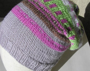 Pink and purple unisex loose knit slouchy winter hat beanie baby merino superwash polyacrylic mohair