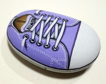 Handmade Purple All Star Converse Shoe! Is hand painted on natural sea  stone with Acrylics and finished with Satin varnish protection fda002e56ef