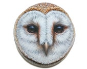 Barn Owl Face Portrait Painted Stone Owl home decor, Owl art, Hand painted with Acrylics and finished with Satin varnish protection.
