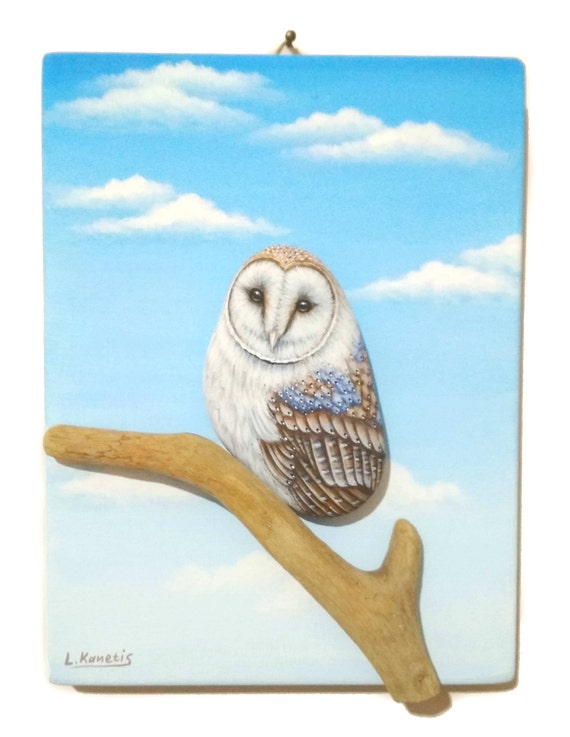 Pretty barn owl sitting on a tree branch, 3D acrylic painting for wall decor, painted stone glud on painted wood with blue sky and clouds.