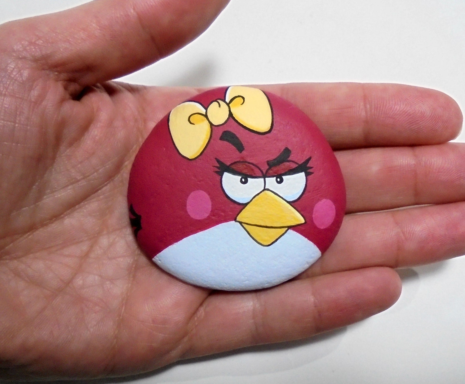 Hand Painted Stone Angry Bird Acrylic Painting On Beach | Etsy