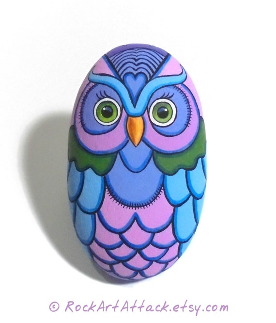 Sea Stone Painted Colorful Owl! Is Painted with High Quality Acrylic Paints on a Natural Stone and Finished with Glossy Varnish Protection.