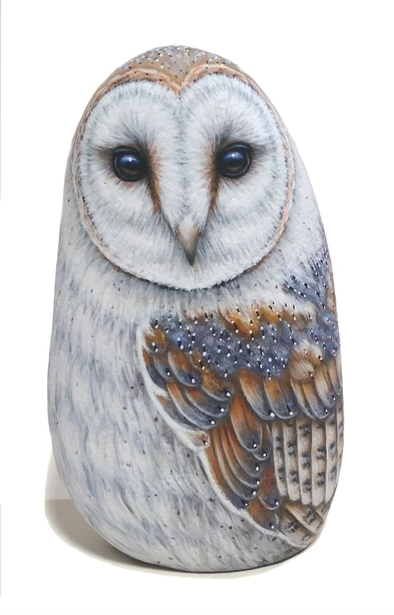 Detailed Hand Painted Barn Owl Rock! Unique Owl Art for Home Decor, Hand-Painted with Acrylics and finished with Satin varnish, Owl painting
