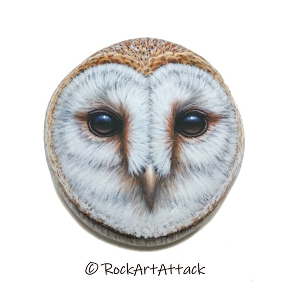Barn Owl Face Portrait Painted Stone! Owl home decor, Owl art, Hand painted with Acrylics and finished with Satin varnish protection.