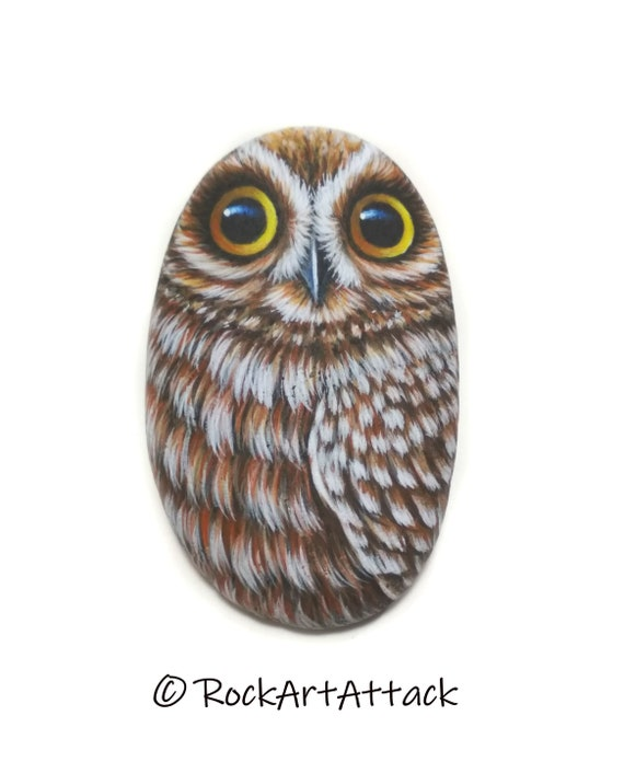 Cute miniature owl hand painted pebble! Bird painting stone. stone art owl. Painted with Acrylics and coated with transparent satin varnish.