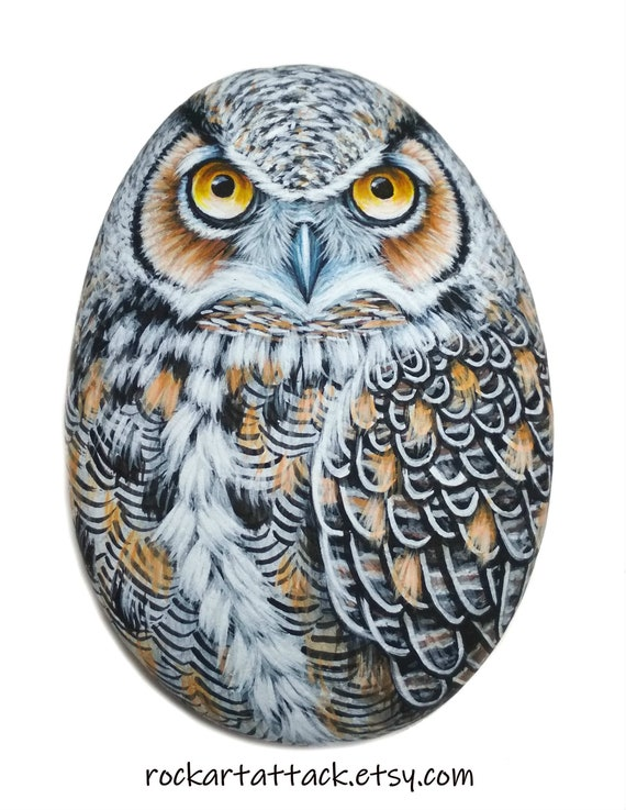 Painted Stone Great Horned Owl! Hand painted stone animal, original acrylic painting, satin varnish finish, rock painting owl, stone art