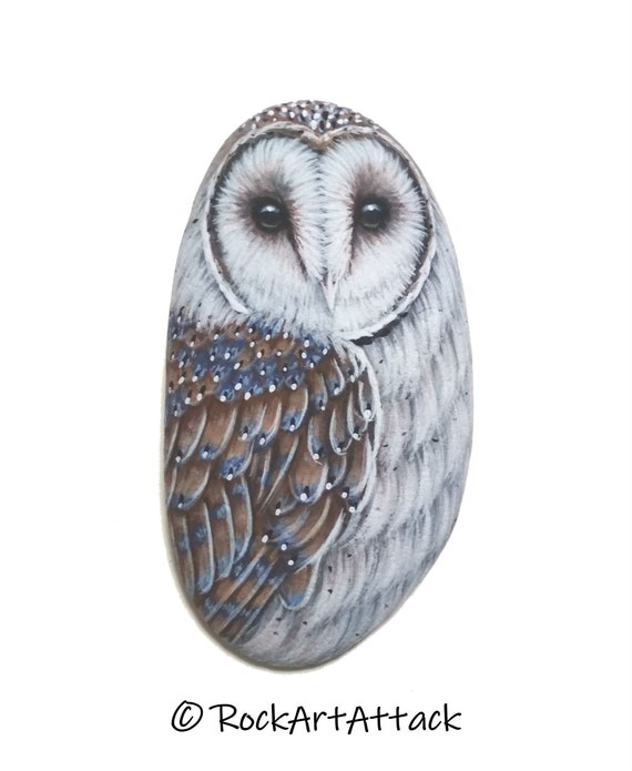 Hand-Painted Barn Owl Sea Pebble Magnet! Miniature Bird Painting on Small Stone, Original owl acrylic painting, finished with satin varnish
