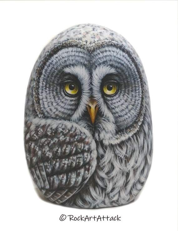 3D Great Gray Owl Hand Painted Rock! Stone Painting Owl, handmade owl Gift, Painted with Acrylics and finished with matt varnish protection