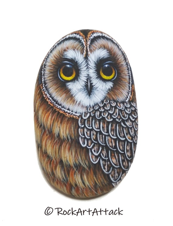 Hand Painted Pebble Short-eared Owl! Acrylic Miniature Painting on Stone, finished with Satin varnish. Original art, owl painted stone