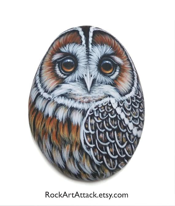 Tawny owl handmade miniature acrylic painting on sea pebble! Owl decor. Fridge magnet. Stone art owl, finished with satin varnish protection