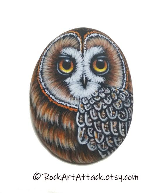 Short-eared owl handmade miniature acrylic painting on sea pebble! Fridge magnet small owl, finished with satin varnish protection