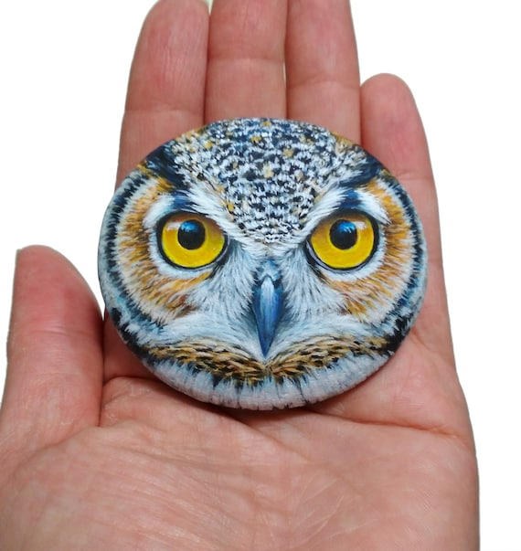 Great horned owl face portrait painted stone! Owl stone art, rock painting owl, hand painted with Acrylics and finished with satin varnish