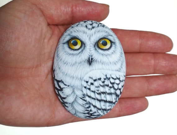 Snowy Owl Hand Painted on Flat Stone! Handmade Owl for Home Decor, Painted with Acrylics and finished with satin varnish Protection.