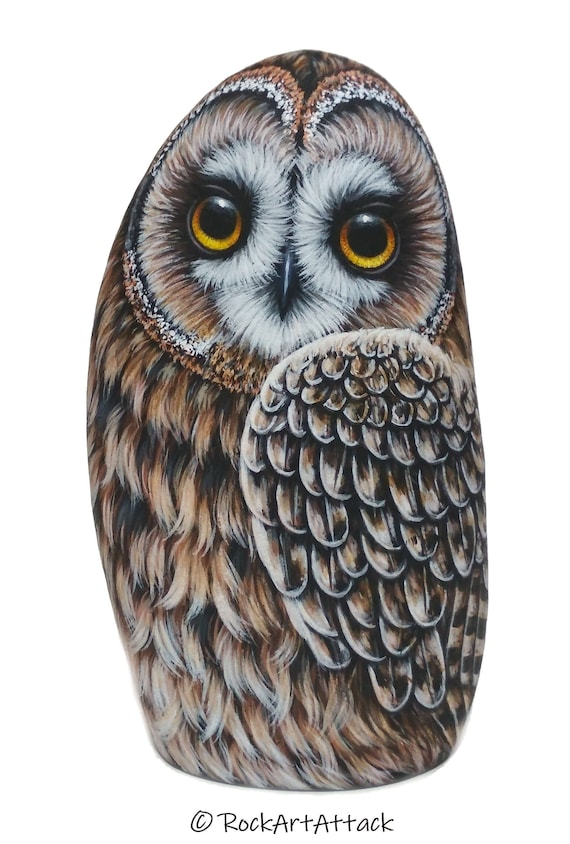 Short-eared Owl Painted Rock! Original 3D Hand Painted Owl, Owl Home Decor, Handmade Bird Art, Stone Art, Owl Gift, Bird Acrylic Painting