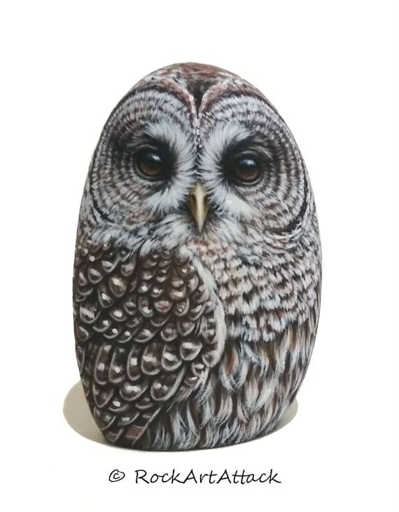 Barred Owl Hand Painted Stone! Original 3D Hand Painted Owl, Owl Home Decor, Handmade Bird Art, Stone Art, Owl Gift, Bird Acrylic Painting