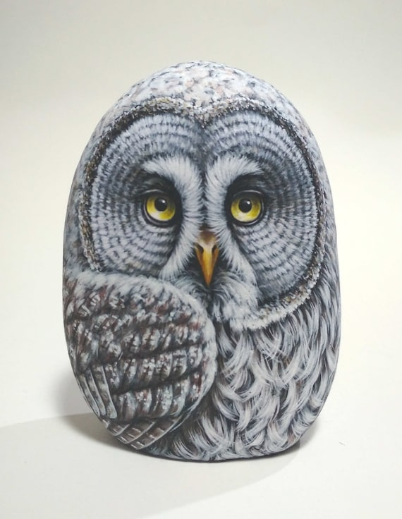 3D Great Gray Owl Hand Painted Rock! Stone Painting Owl, handmade owl Gift, Painted with Acrylics and finished with satin varnish protection