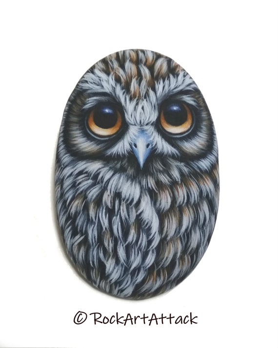 Boobook Owl Hand Painted on Small Stone! Handmade Owl for Home Decor, Painted with Acrylics and finished with satin varnish Protection.