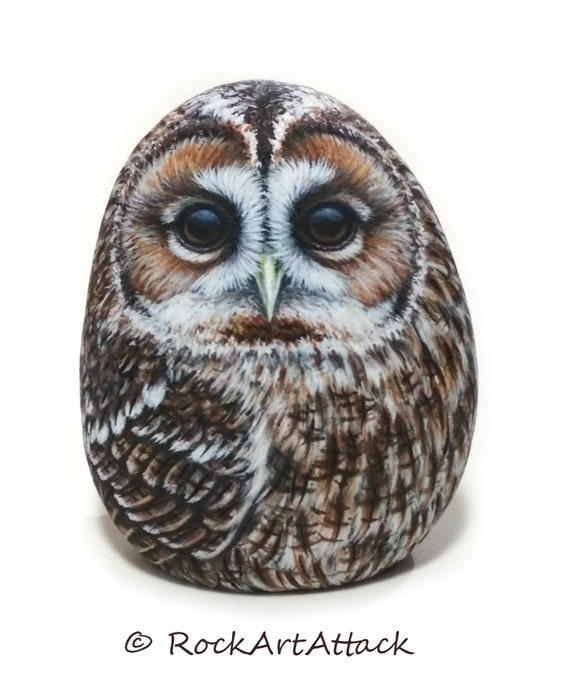 Hand Painted Tawny Owl Rock! Original acrylic painting, Owl home decor, handmade bird art, stone Art, owl gift, unique miniature painting