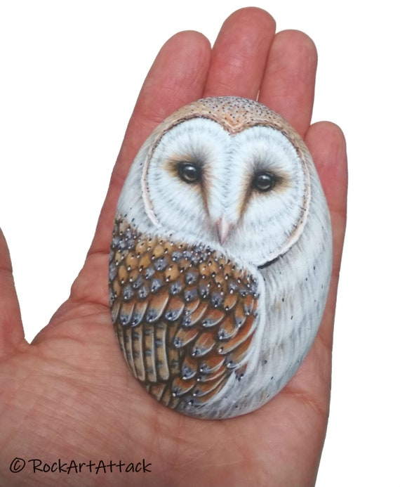 Painted Stone Pretty Barn Owl for Home Decor! Owl stone art. Hand painted with Acrylic paints and finished with satin varnish protection.