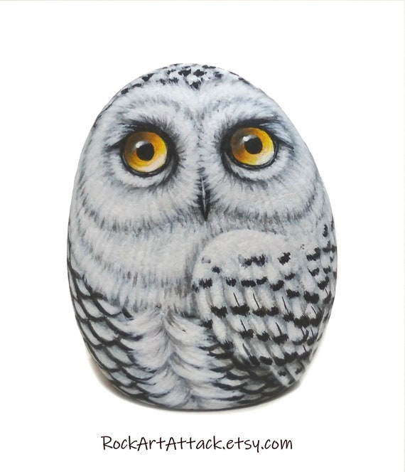 Snowy Owl Hand Painted On Stone! Unique owl art for home decor, bird painting with acrylics and finished with matt varnish protection