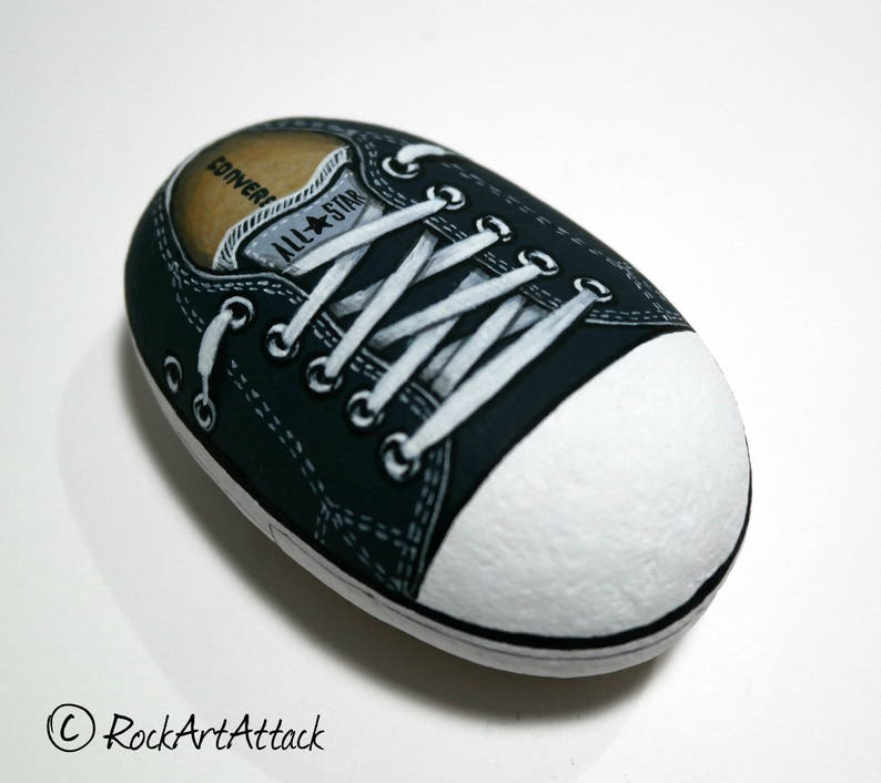 Black Shoe All Star Converse Painted Stone Rock Painting  9fa296b80