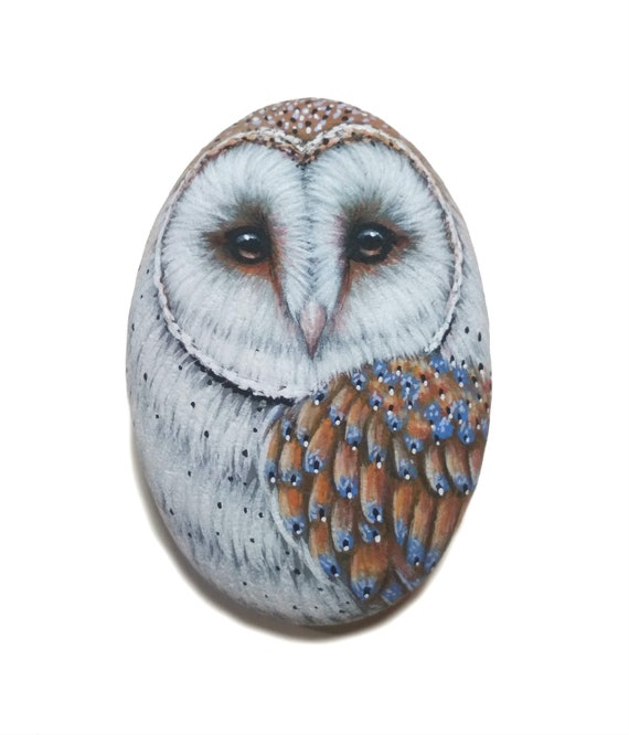 Hand-Painted barn owl on flat natural sea pebble! Acrylic miniature painting on stone, Original owl painting, Handmade, Stone painting art