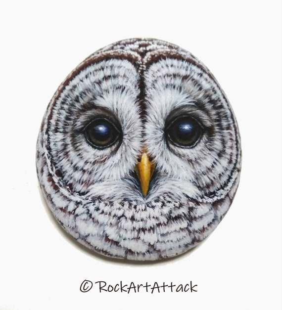 Hand painted barred owl head portrait on stone! Owl stone art, rock painting owl, hand painted with Acrylics and finished with satin varnish