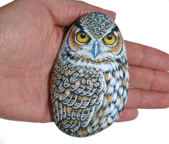 Painted Rock Great Horned Owl! Hand painted with acrylics, coated with satin varnish, painted stones, rock painting owl, art paperweight