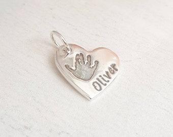 Handprint charm, Handprint Jewellery, Footprint charm, Mum Gift, Baby Handprint, Handprint keepsake, Handprint Necklace, Silver handprint