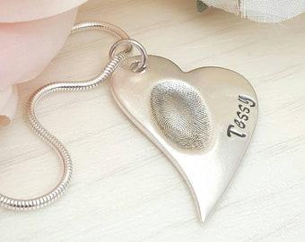 Fingerprint necklace, Fingerprint Pendant, Fingerprint Jewellery, Mum Gift, Fingerprint keepsake, Mother's Day, Fingerprint charm, Mum Gift