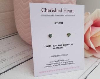 Sterling silver heart earrings, heart earrings, personalised bridesmaid gift, personalised birthday gift, heart jewellery, heart studs