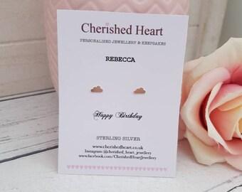 Sterling silver Cloud earrings, Cloud earrings, Personalised bridesmaid gift, Personalised birthday gift, Thank you gift, Clouds, Studs