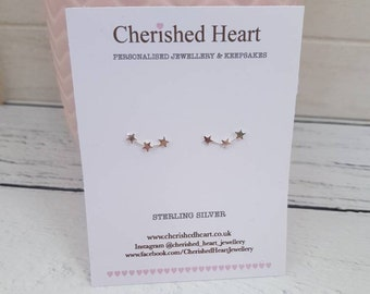 Sterling silver star earrings, star climber earrings, star creeper earrings, star earrings, personalised birthday gift, star jewellery, star