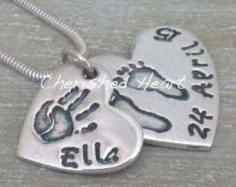 Double descending Hand and footprint necklace, Handprint Necklace, Footprint Necklace, Handprint Jewellery, Mum Gift, Handprint pendant