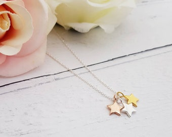 Trio of Stars necklace, Personalised Star Necklace, Initial necklace, Star Necklace, Silver initial necklace, Gold initial necklace, Star