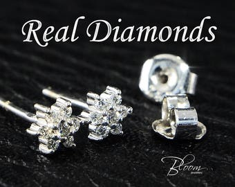 Diamond Stud Earrings 18K Solid Gold Snowflake Earrings Snowflake Stud Earrings Diamond Snowflake Earrings BloomDiamonds