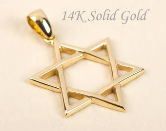 Gold Star of David Pendant 14K Solid Gold Jewish Star Necklace Star of David Necklace Magen David Necklace Star Pendant ONLY BloomDiamonds