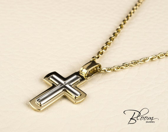 Mens cross necklace 14k white and yellow gold chain mens gold etsy image 0 aloadofball Images