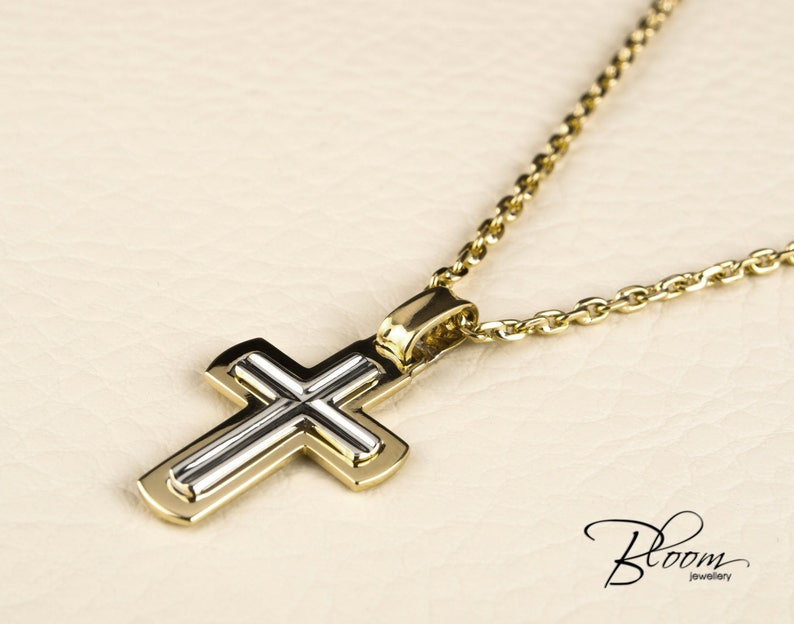 aa204b980043 Mens Cross Necklace 14K White and Yellow Gold Chain Mens Gold