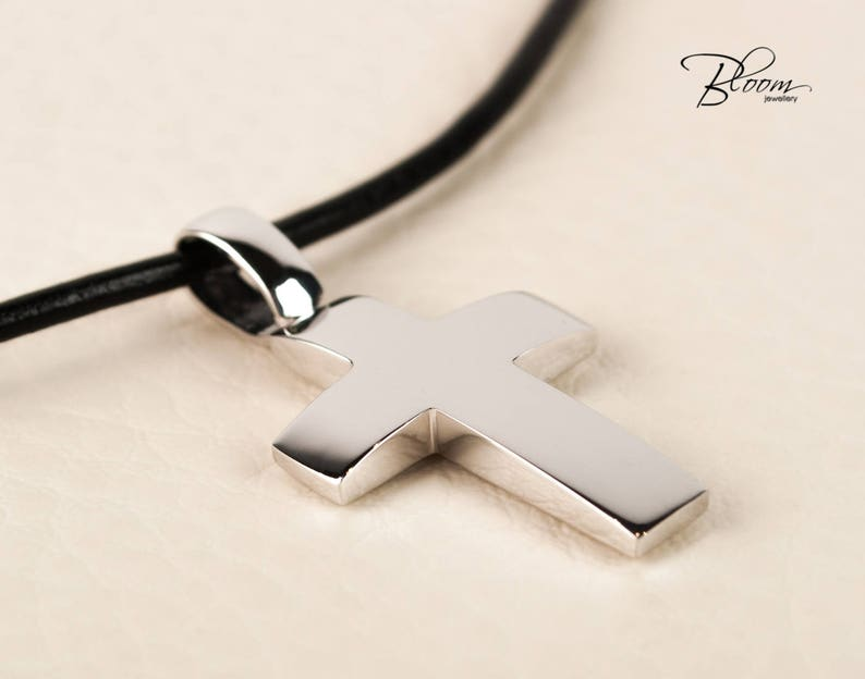 04a092d25172 White Gold Cross Necklace for Men Leather Cord Cross Pendant