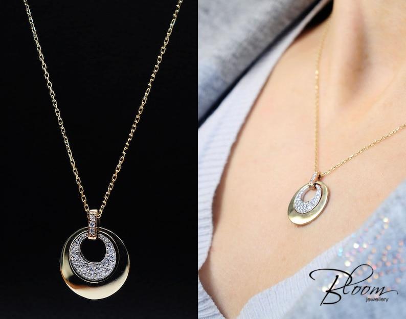 45b5834f5bcb Delicado collar de oro 14K colgante de oro sólido collar