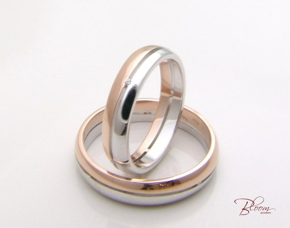 Unique Wedding Rings 14k Gold Couples Ring Set Two Tone Couple Etsy