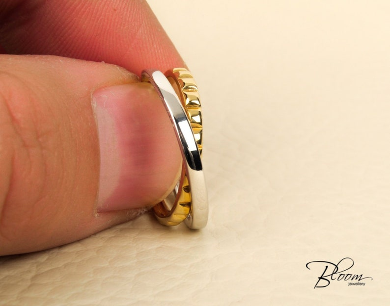 Crossed Wedding Bands.Delicate Crossed Gold Ring 18k Solid Gold Band Unique Wedding Ring Guy Laroche