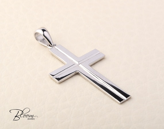 1f509c951ac7 White Gold Cross Necklace 14K Solid Gold Cross Pendant Mens