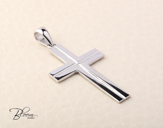 97281c40d96d White Gold Cross Necklace 14K Solid Gold Cross Pendant Mens