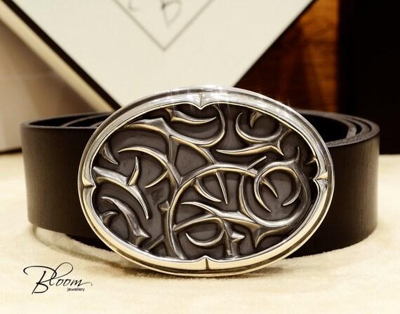 Argent boucle ceinture ceinture en cuir véritable des hommes   Etsy f90ad802f73