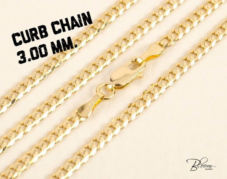 0f2b350e90de0 14K Gold Chain for Men Gold Necklace Chain for Men Gold Curb Chain Gold  Curb Chain Necklace for Men Gold Chain Solid Gold Chain Necklace